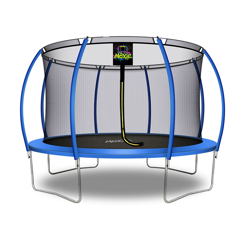 12Ft Large Pumpkin-Shaped Trampoline for Garden & Outdoor | Set with Top Ring Safety Enclosure | Blue
