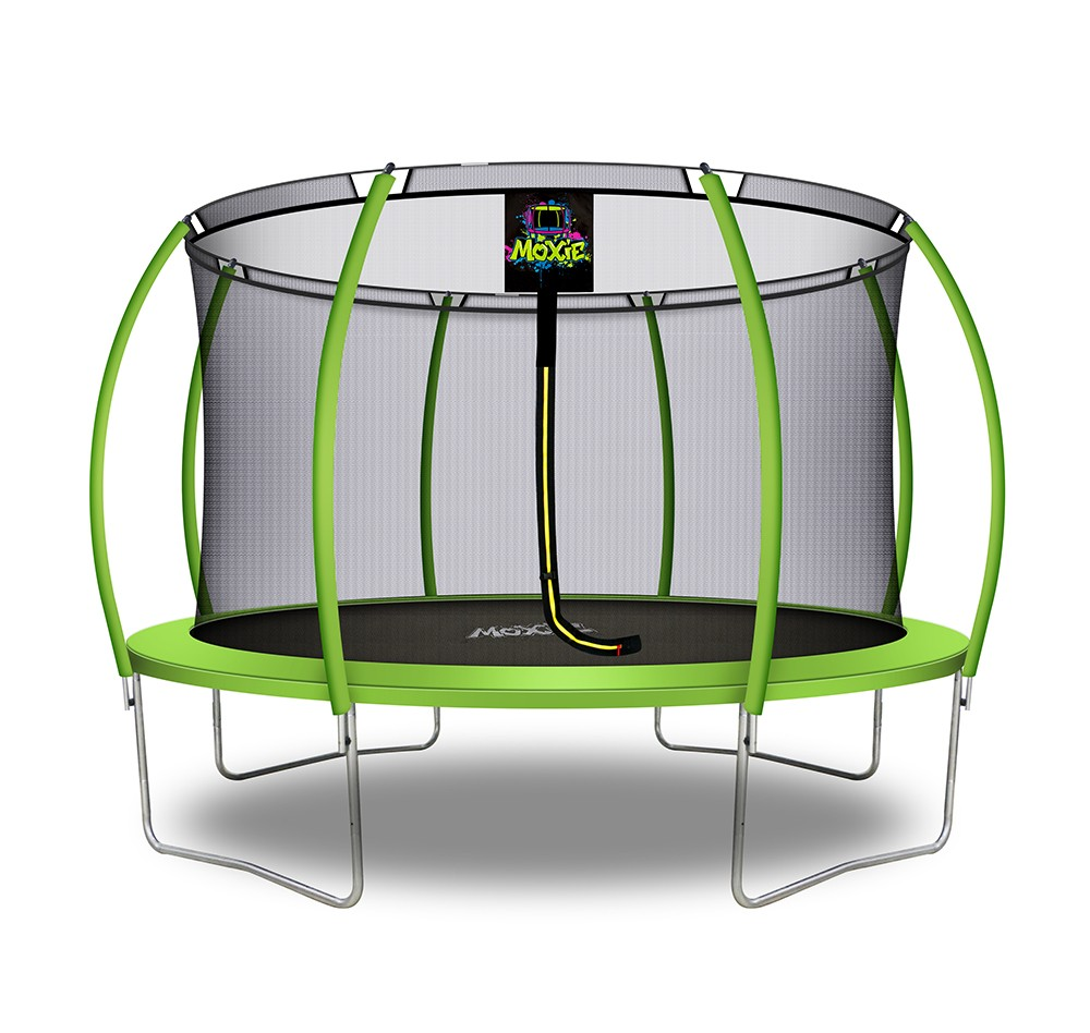12Ft Large Pumpkin-Shaped Trampoline for Garden & Outdoor | Set with Top Ring Safety Enclosure | Green Apple