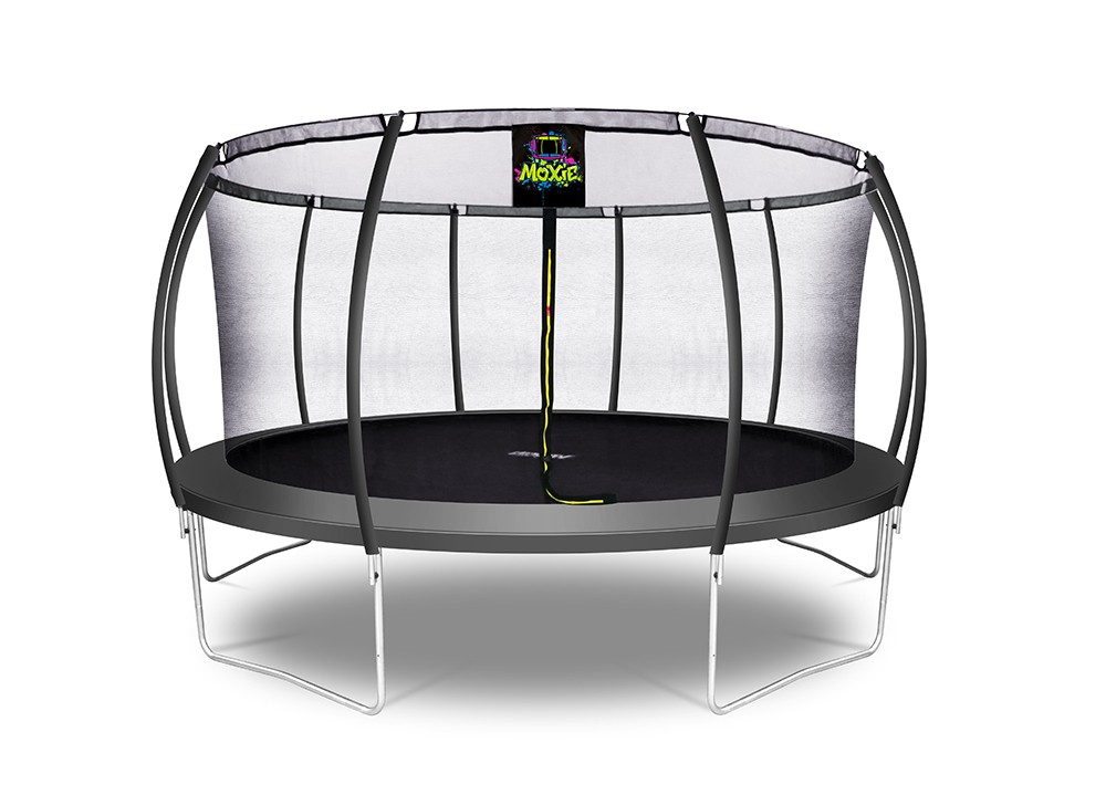 15Ft Large Pumpkin-Shaped Trampoline for Garden & Outdoor | Set with Top Ring Safety Enclosure | Black