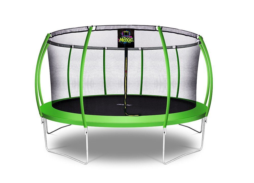 15Ft Large Pumpkin-Shaped Trampoline for Garden & Outdoor | Set with Top Ring Safety Enclosure | Green Apple