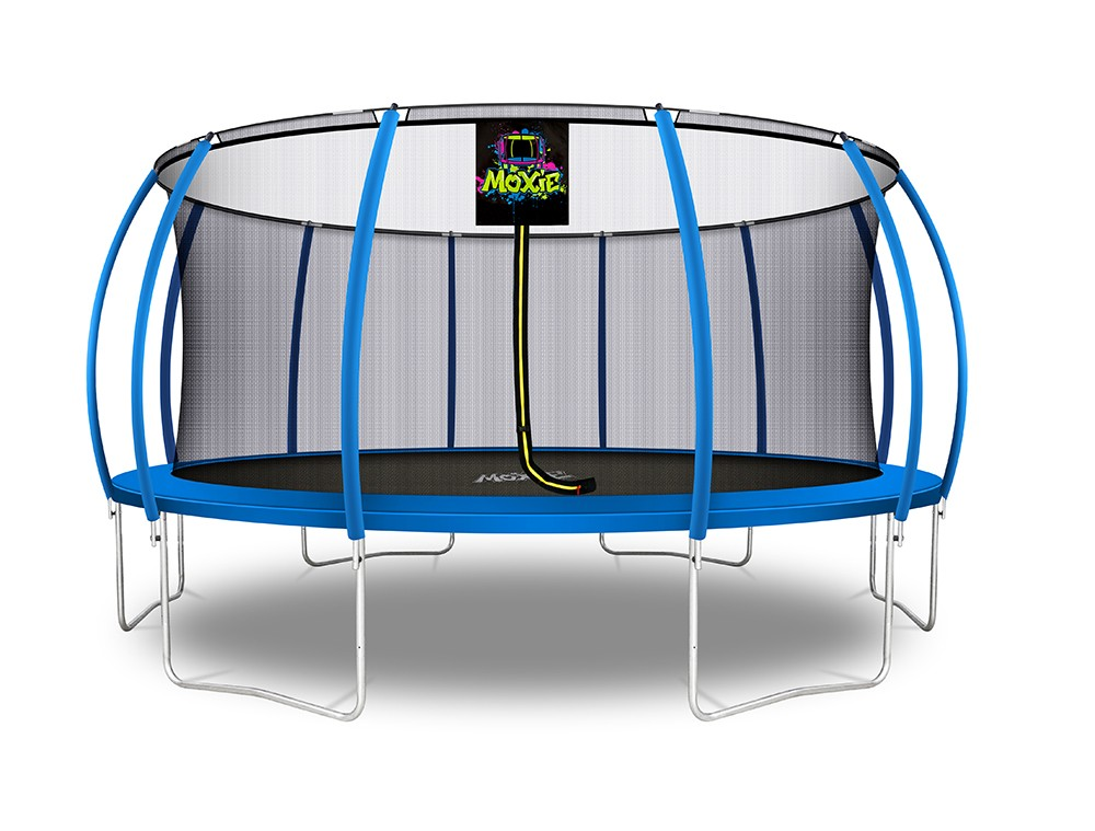 16Ft Large Pumpkin-Shaped Trampoline for Garden & Outdoor | Set with Top Ring Safety Enclosure | Blue