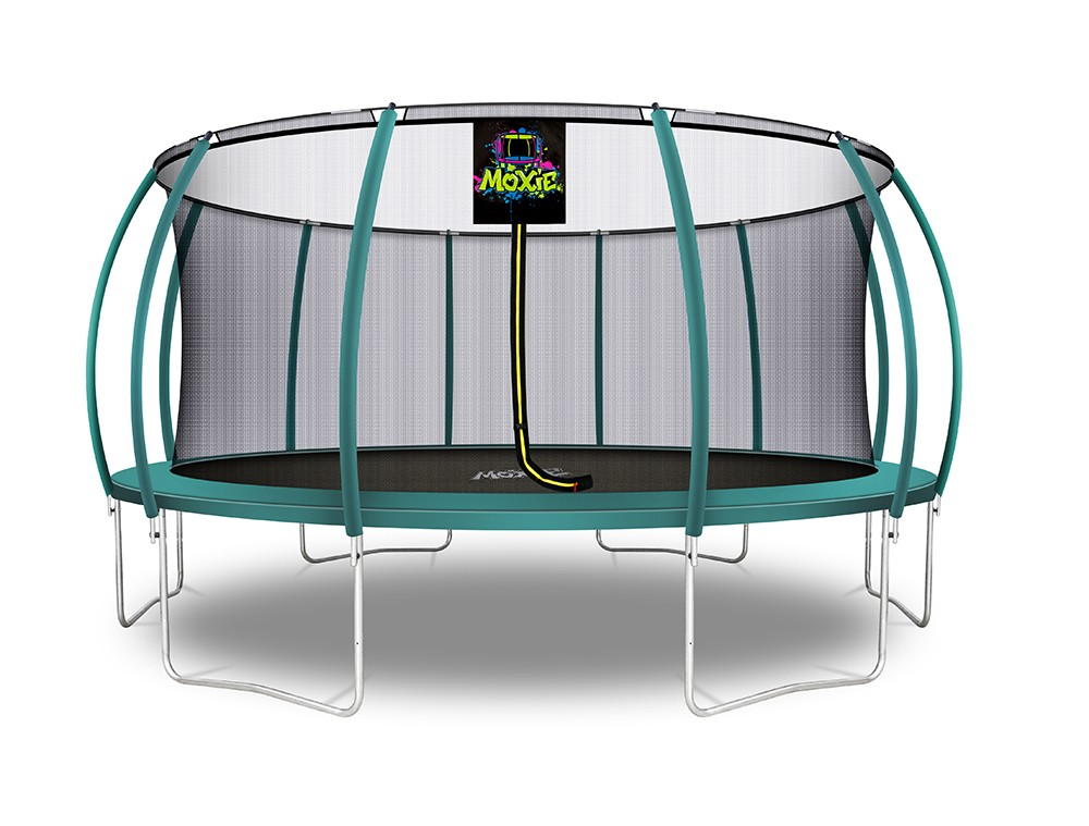 16Ft Large Pumpkin-Shaped Trampoline for Garden & Outdoor | Set with Top Ring Safety Enclosure | Dark Green