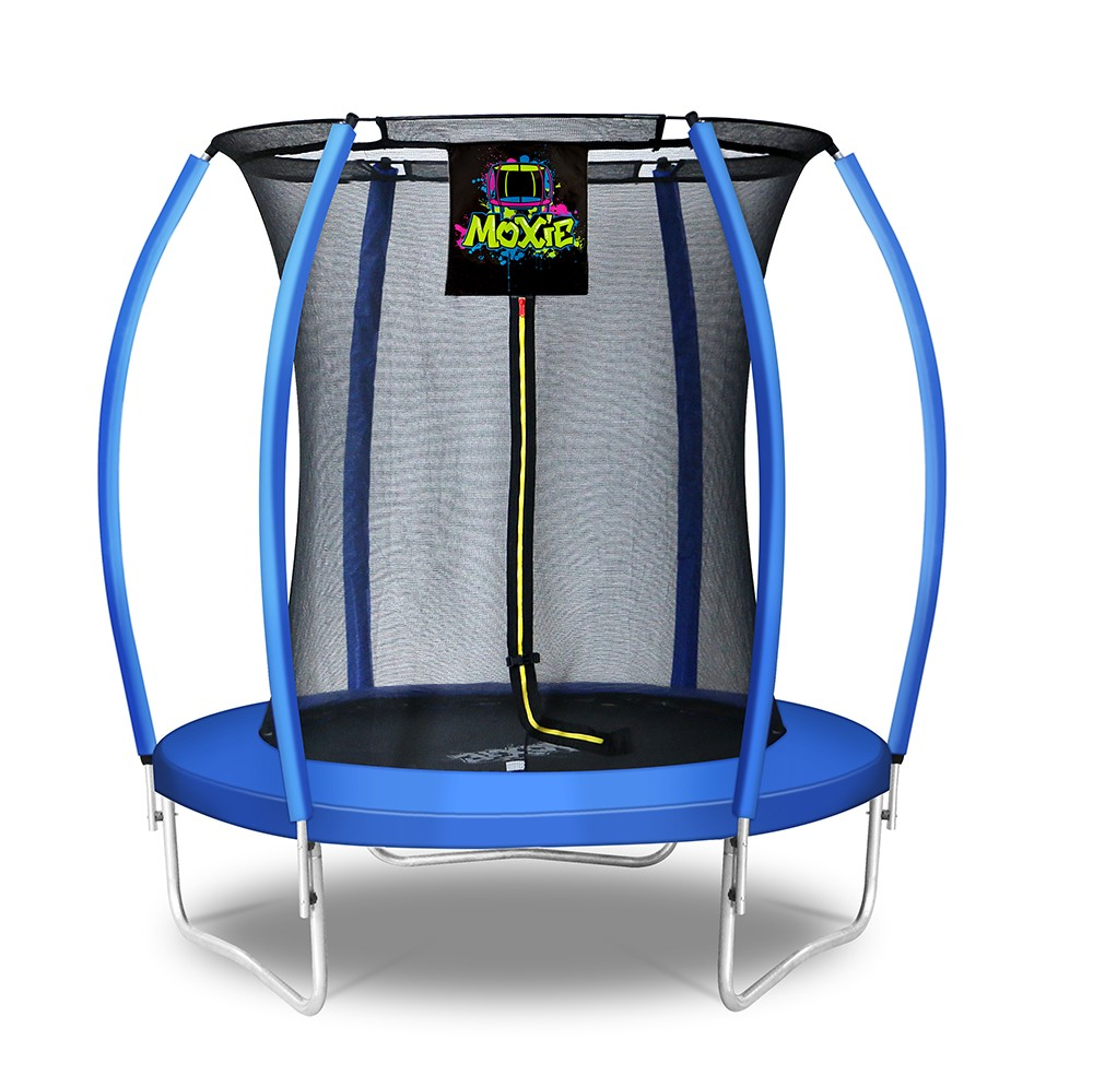 6Ft Large Pumpkin-Shaped Trampoline for Garden & Outdoor | Set with Top Ring Safety Enclosure | Blue
