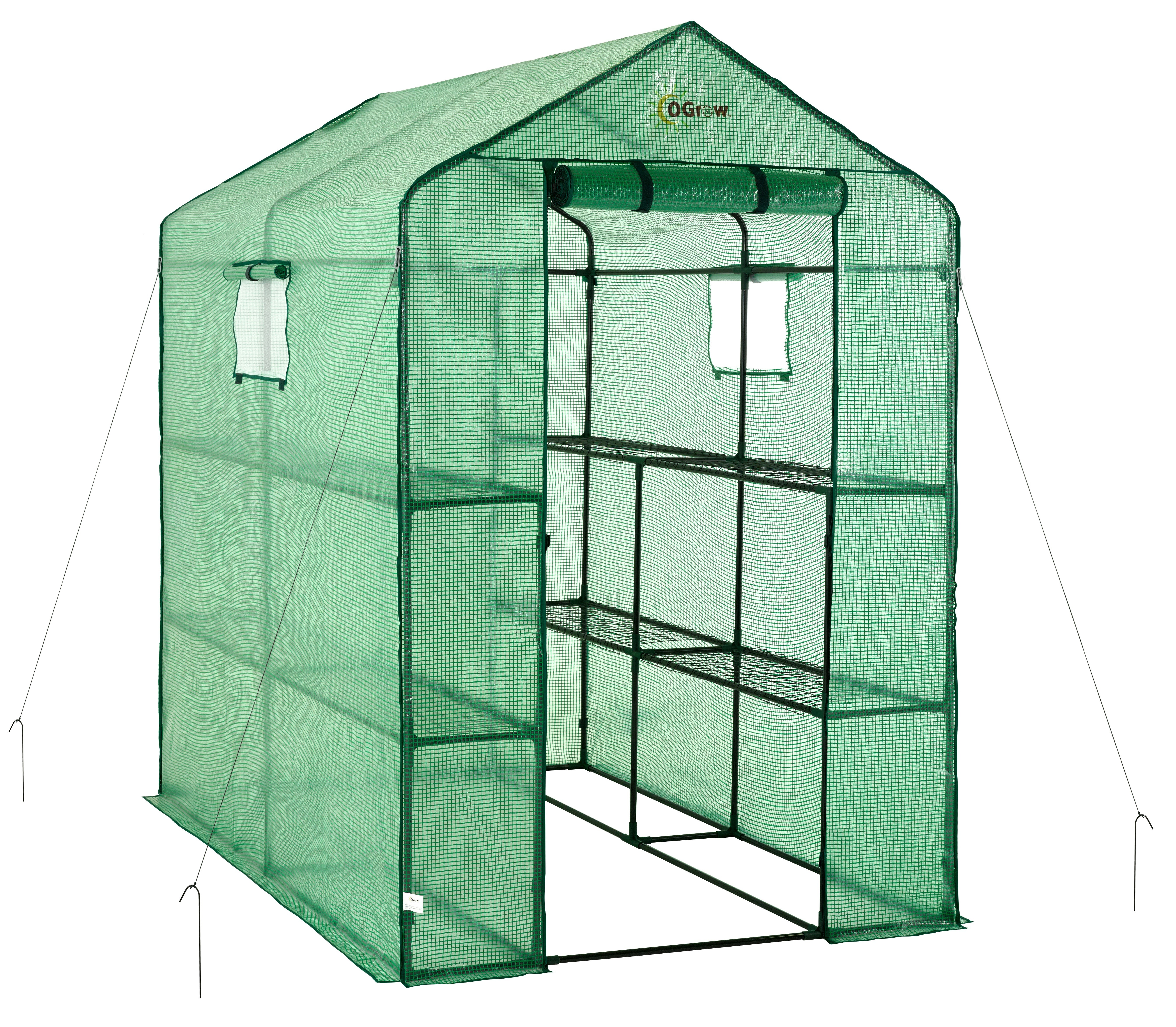 "Ogrow Portable Walk In Greenhouse - 2 Tier 8 Shelf Large Polythene Garden Greenhouse - 75"" H x 49"" W x 74"" D"