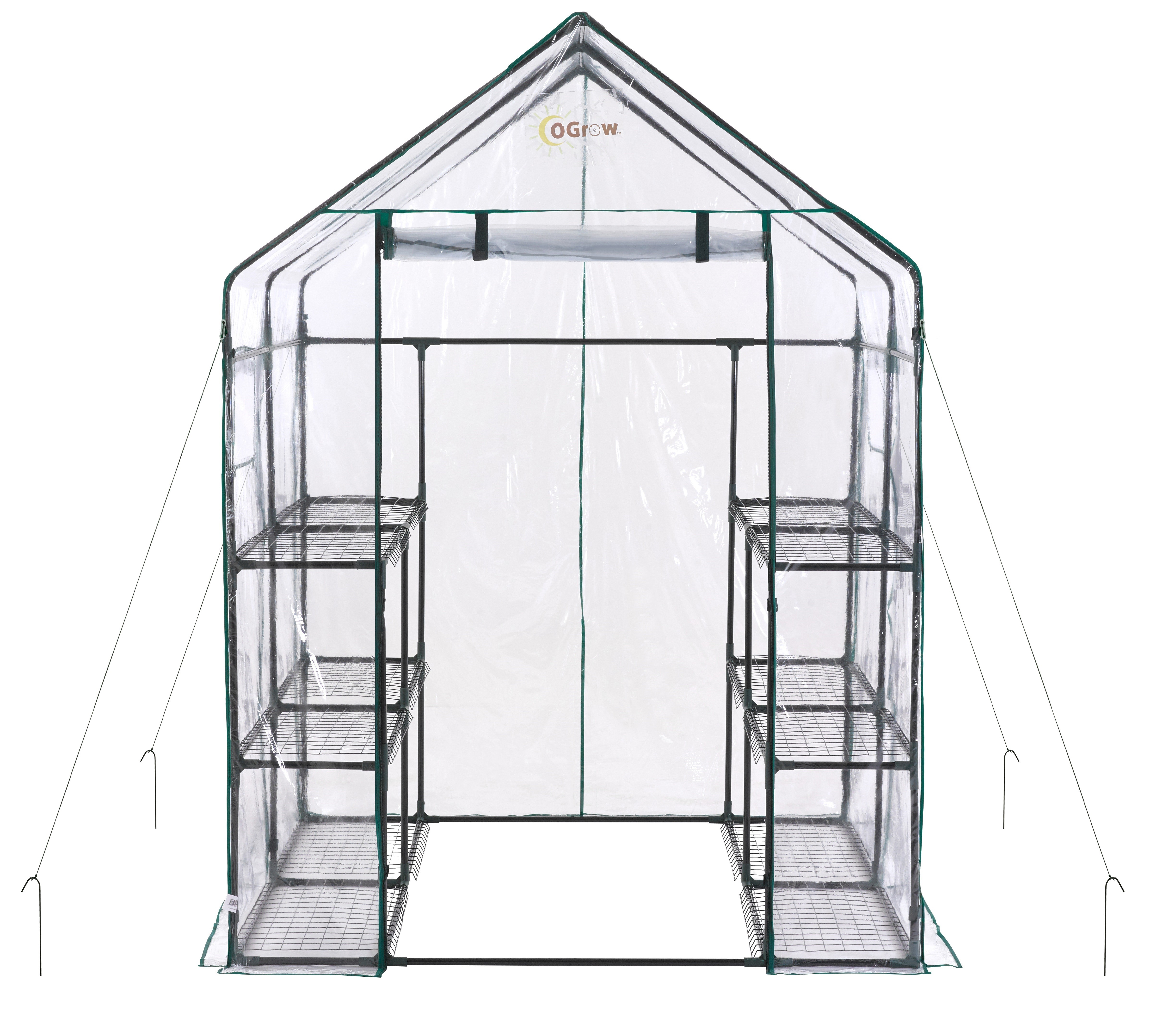 "Ogrow Portable Walk In Greenhouse - 3 Tier 12 Shelf Large PVC Garden Greenhouse - 77"" H x 56"" W x 56"" D"