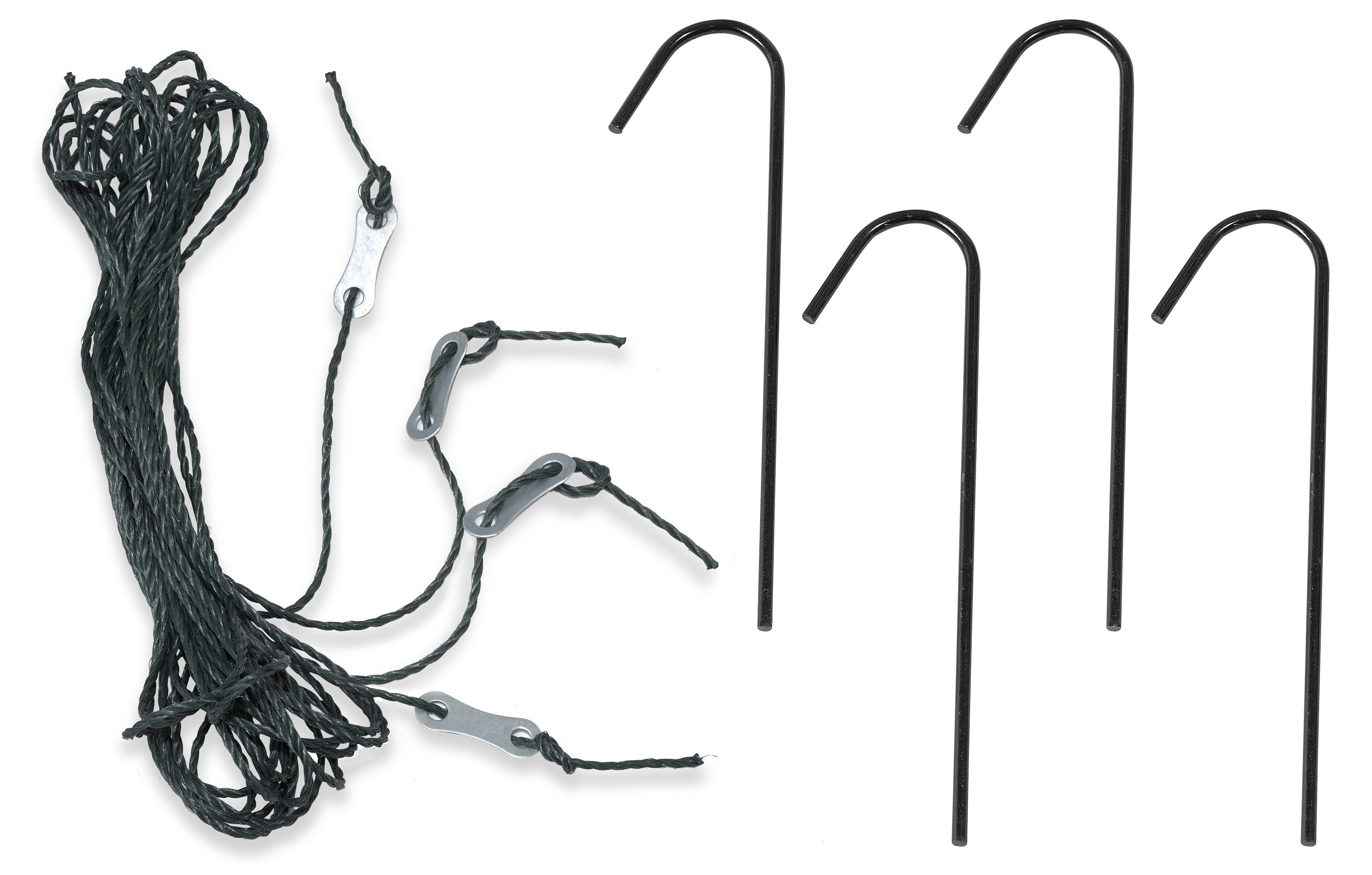 Deep Fastening Iron Garden Greenhouse Anchor Kit - Set of 4 Anchors & Guy Ropes