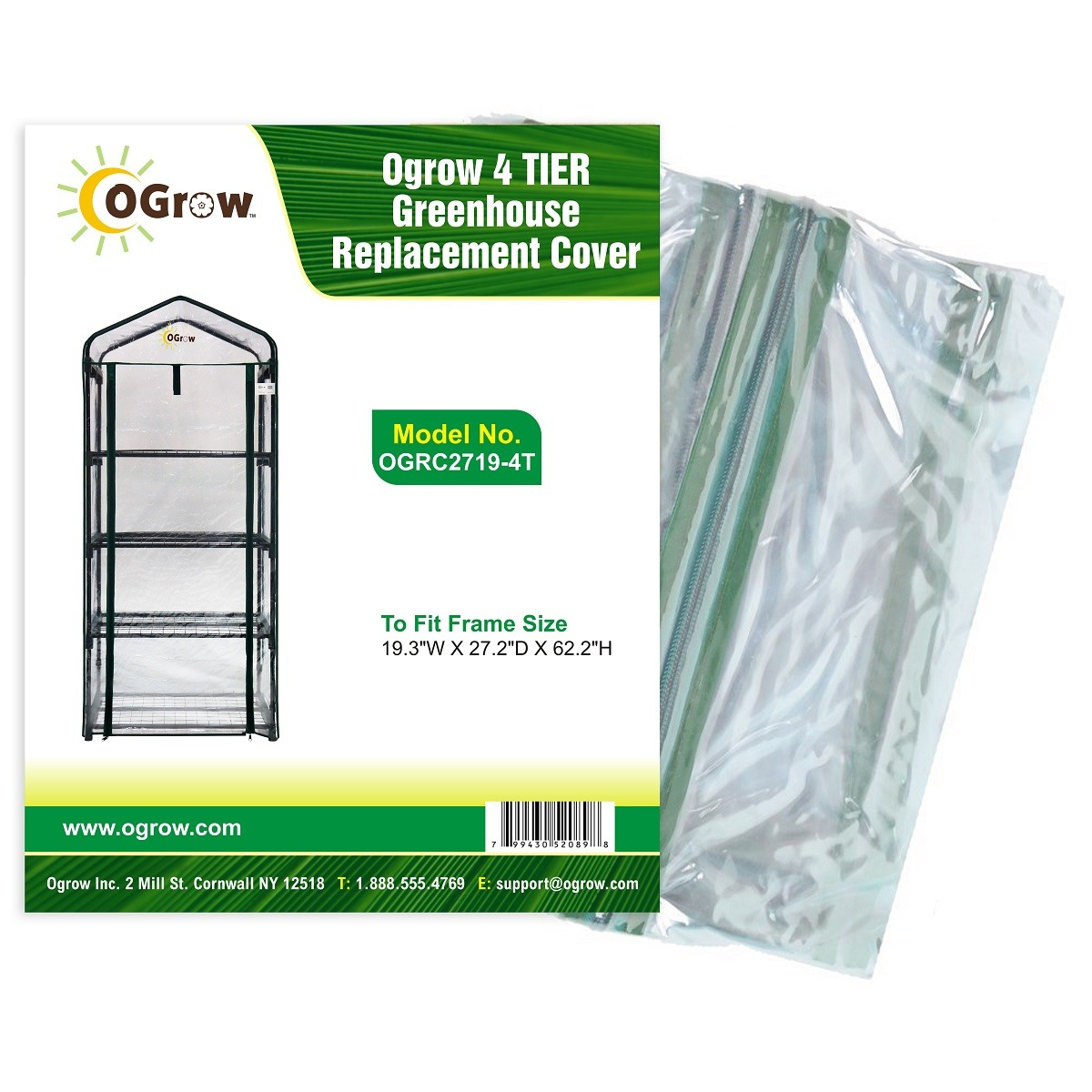 "4 Tier Mini PVC Plastic Greenhouse Replacement Cover - 27"" W x 19"" D x 62"" H - Clear"