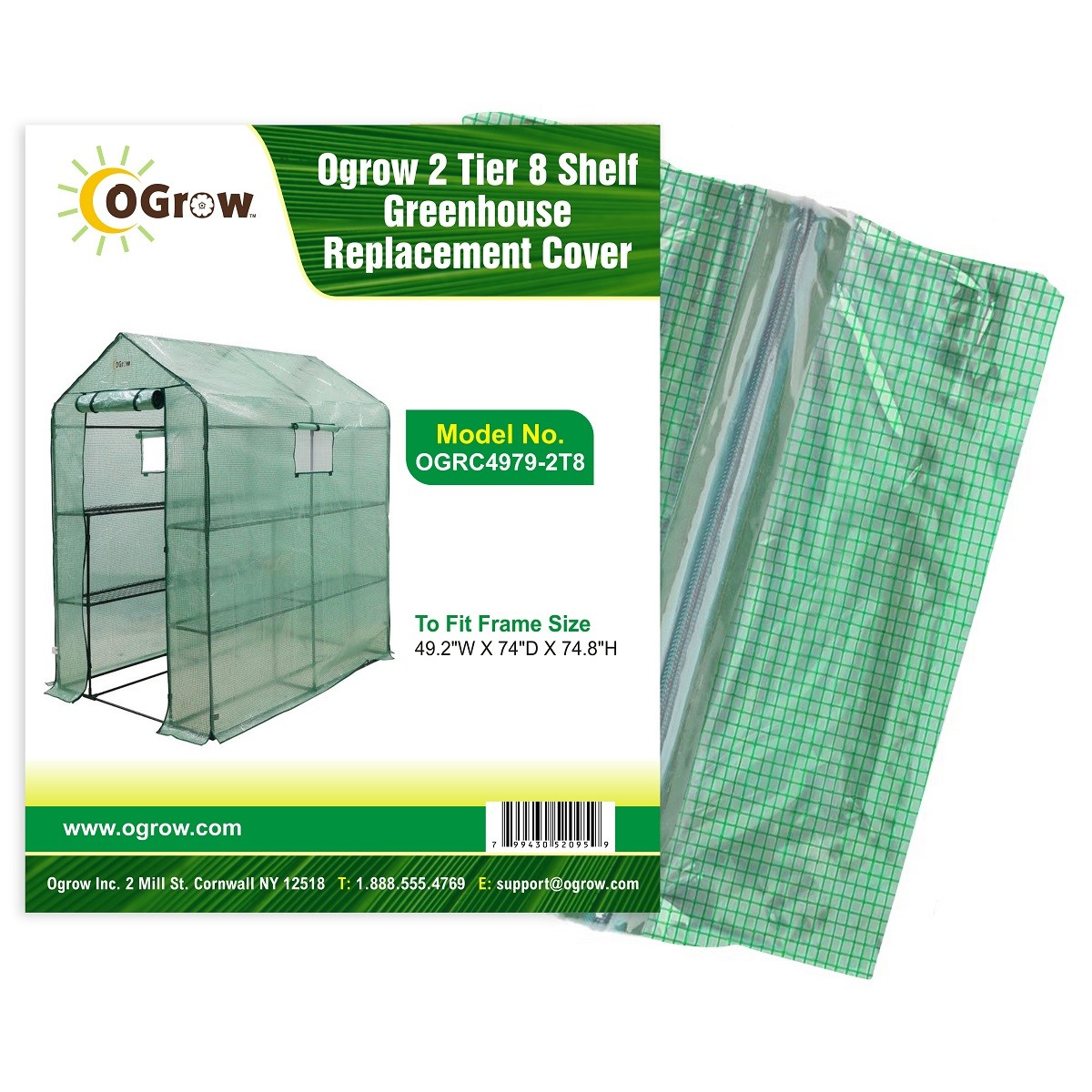 "2 Tier 8 Shelf Polyethylene Plastic Greenhouse Replacement Cover - 49"" W x 74"" D x 75"" H - Green"