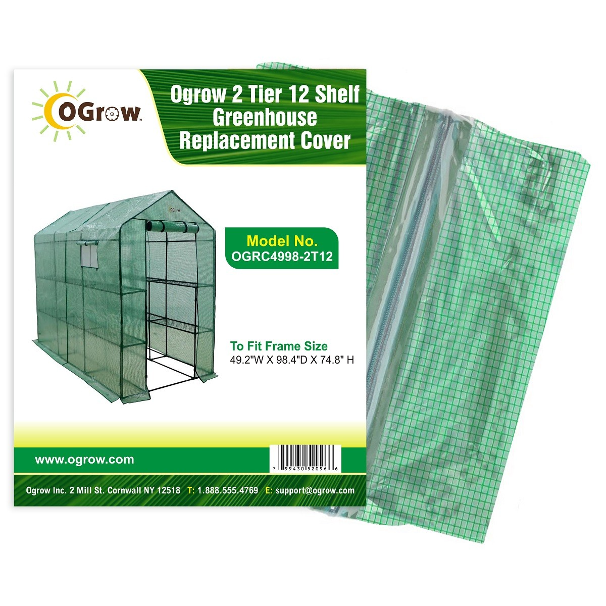 "2 Tier 12 Shelf Polyethylene Plastic Greenhouse Replacement Cover - 49.2"" W X 98.4"" D X 74.8"" H - Green"