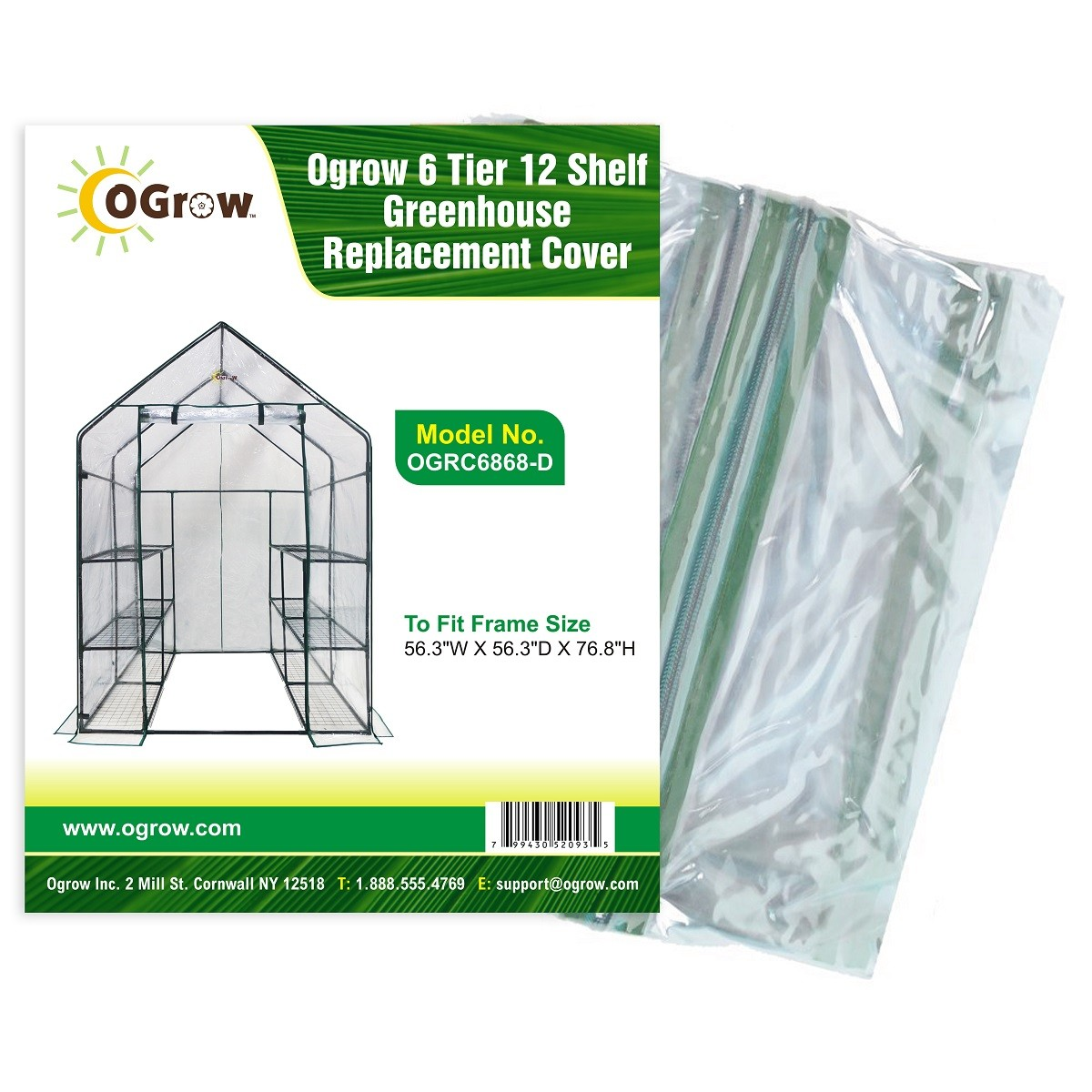 """2 Tier 8 Shelf Plastic PVC Greenhouse Replacement Cover - 77"""" W x 56"""" D x 56"""" H - Clear"""
