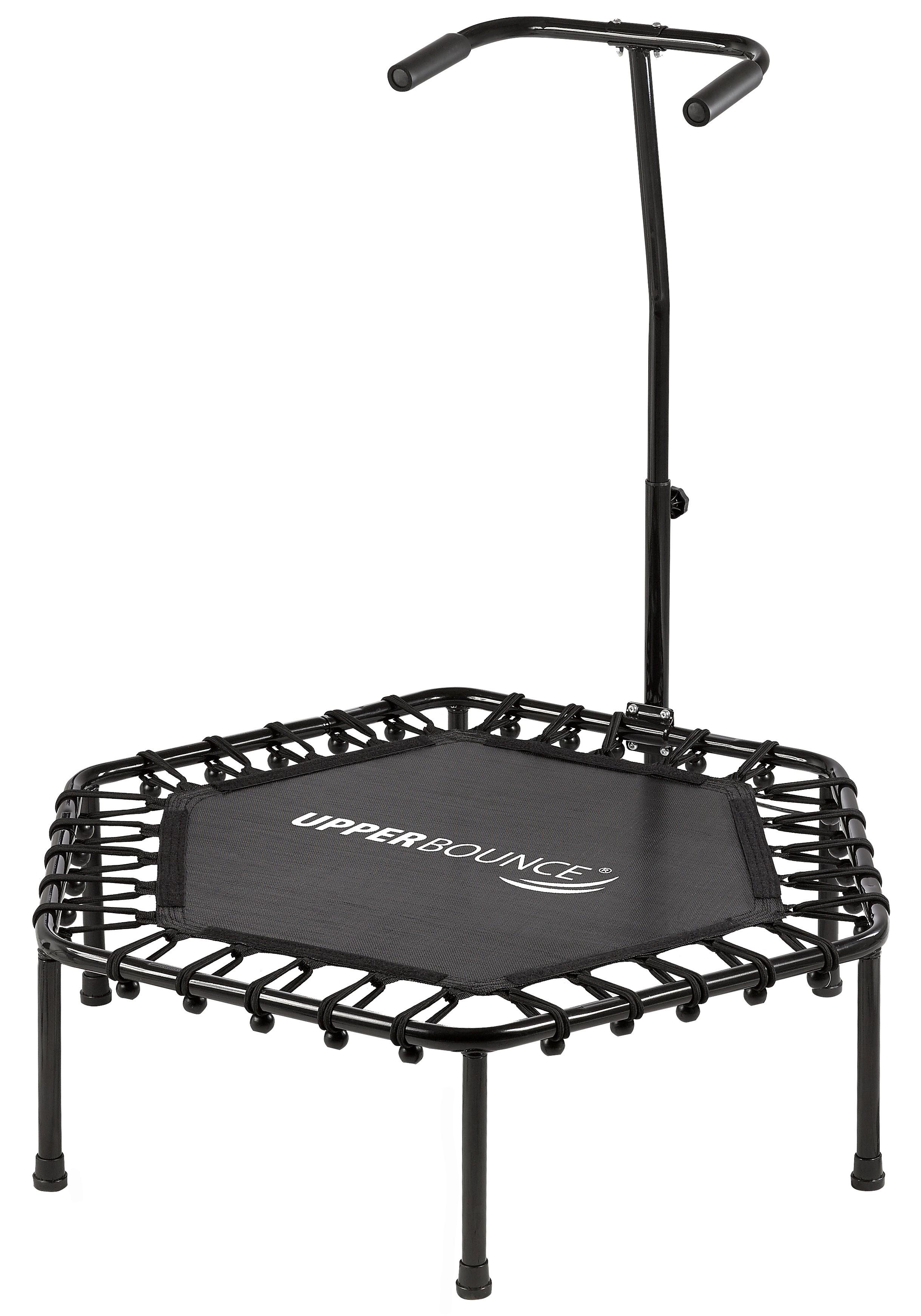 """Upper Bounce 40"""" Hexagonal Fitness Rebounder Mini-Trampoline - T-Shaped Adjustable Hand Rail"""