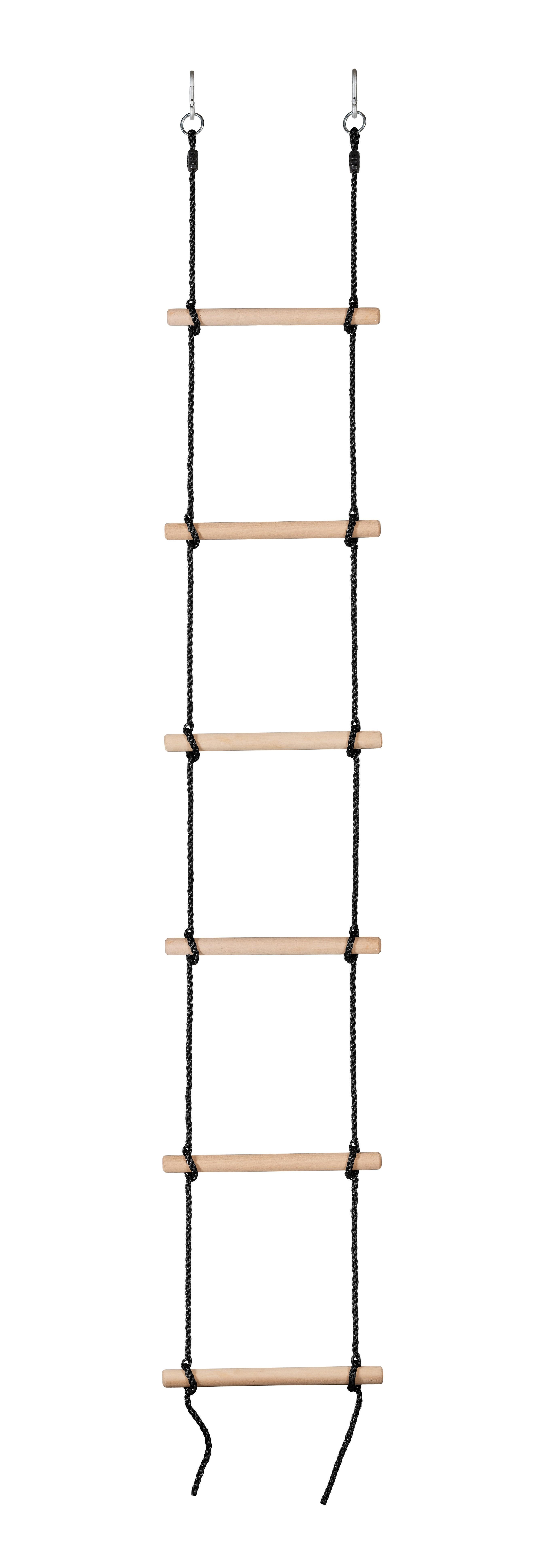 Swingan - 6 Steps Gymnastic Climbing Rope Ladder - Fully Assembled - Black Rope