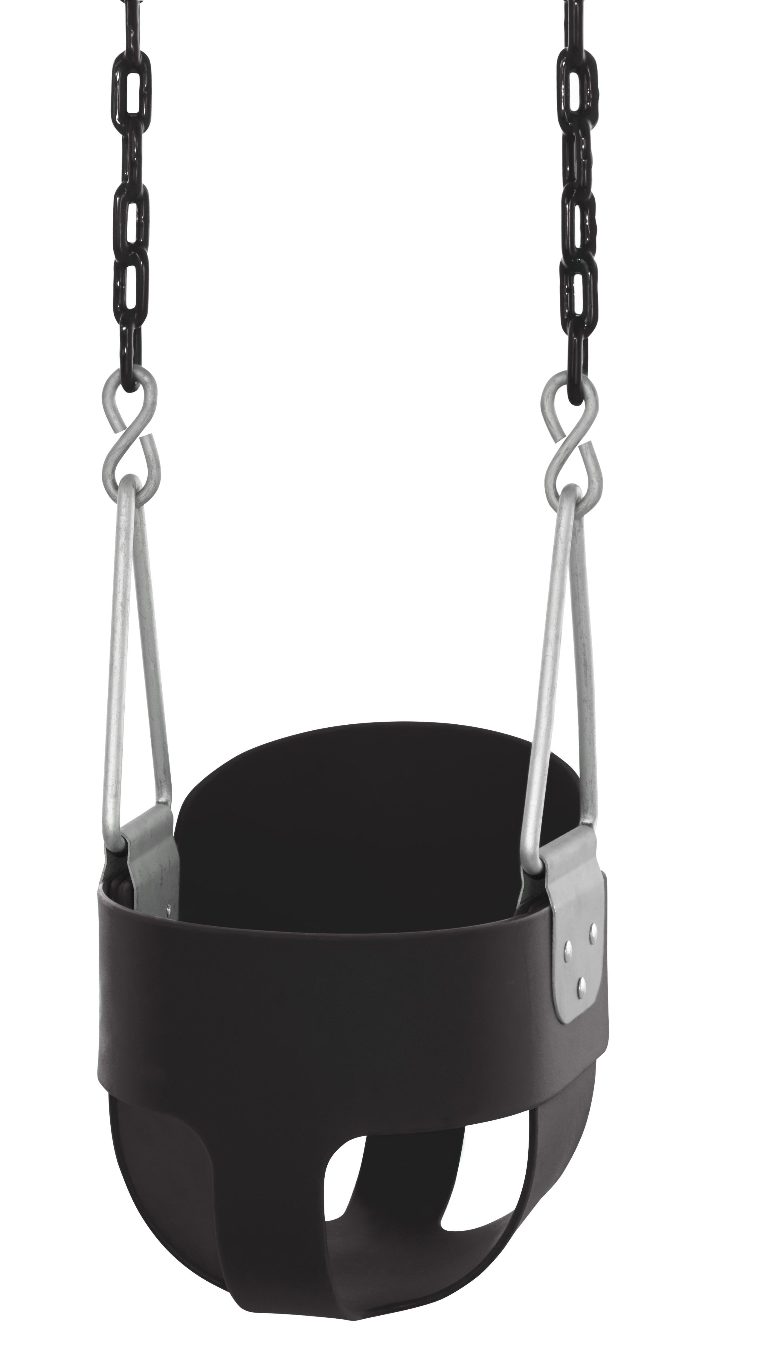 Swingan - High Back, Full Bucket Toddler & Baby Swing - Vinyl Coated Chain - Fully Assembled - Black