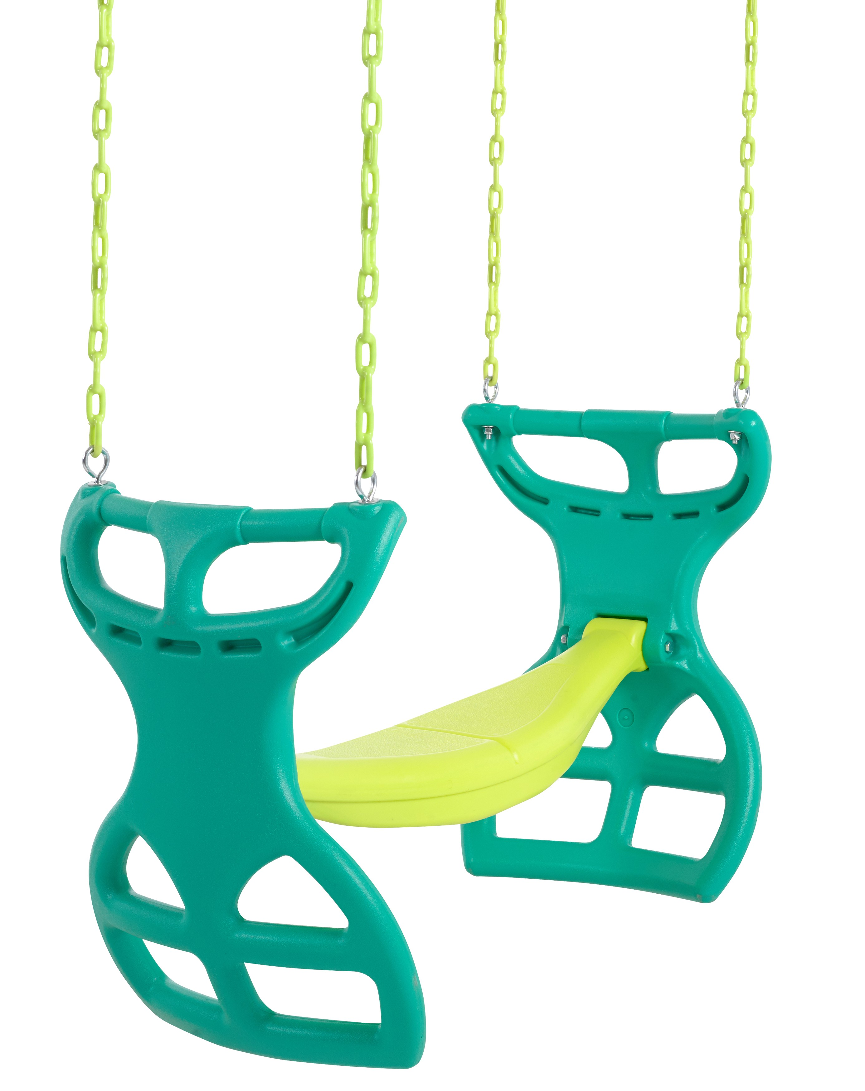 Swingan - Glider Swing Seat - Two Kids Seater | Playground Sets & Accessories for Children - Green & Yellow