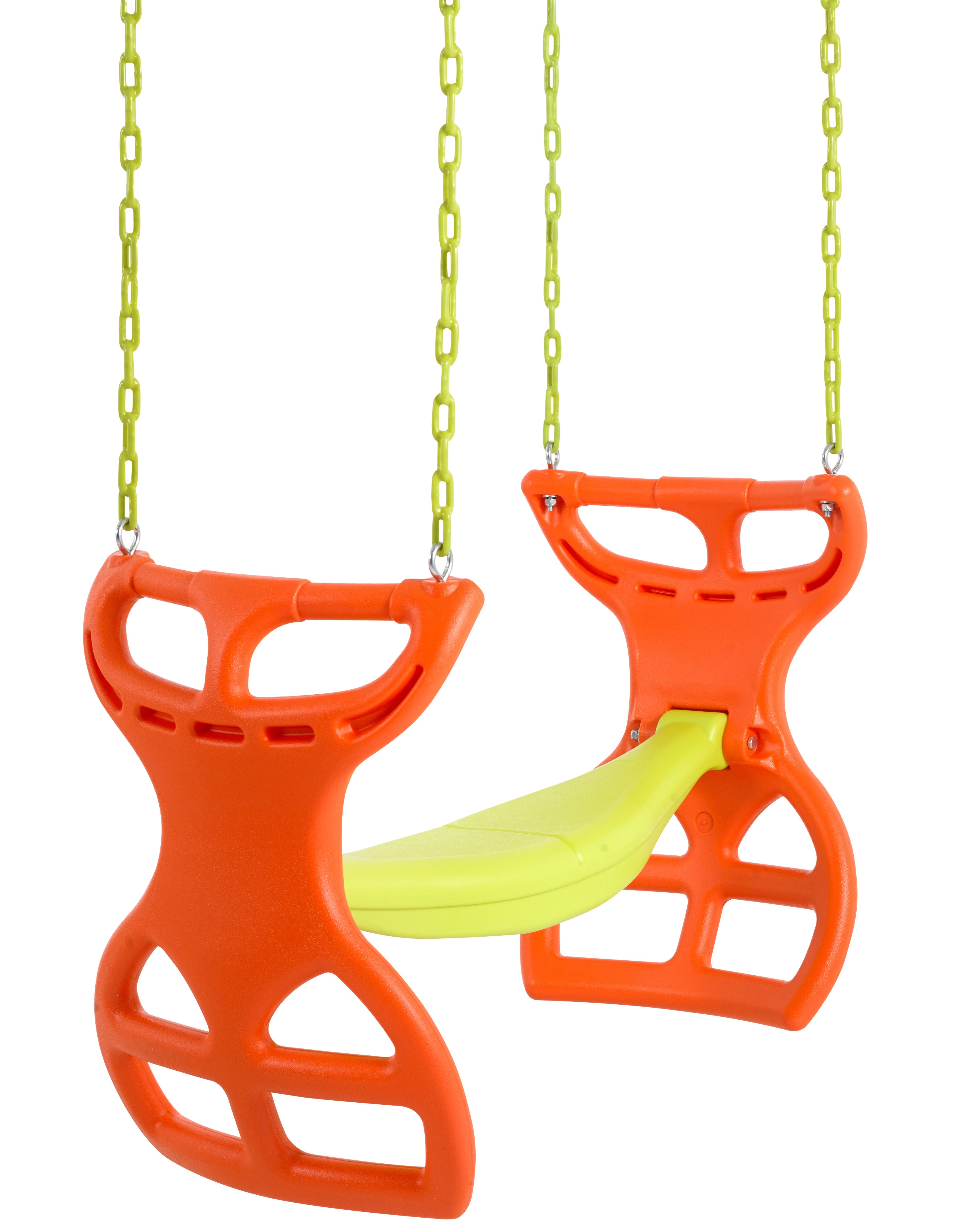 Swingan - Glider Swing Seat - Two Kids Seater | Playground Sets & Accessories for Children - Orange & Yellow