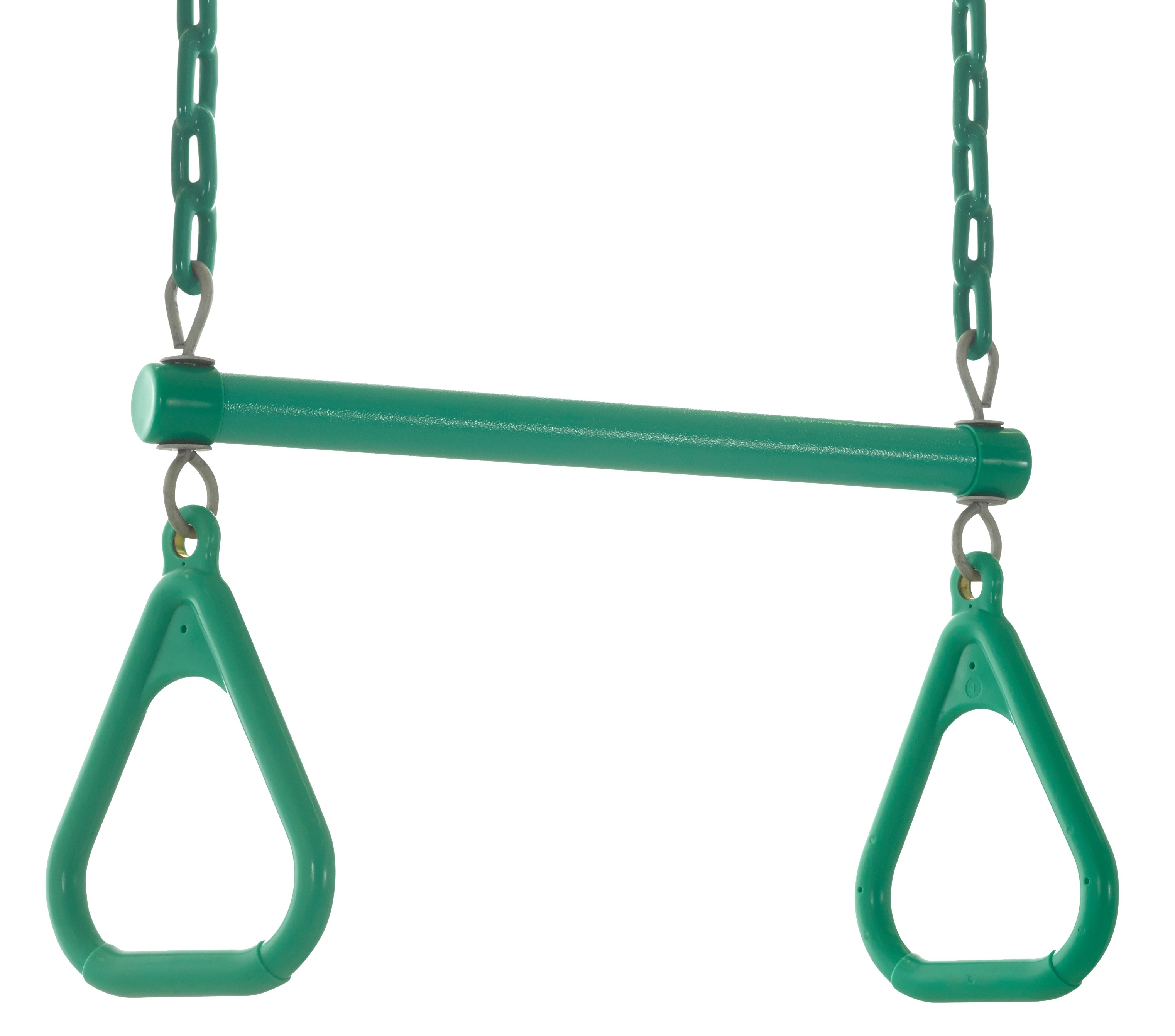 Swingan - Trapeze Swing Bar - Vinyl Coated Chain - Fully Assembled - Green