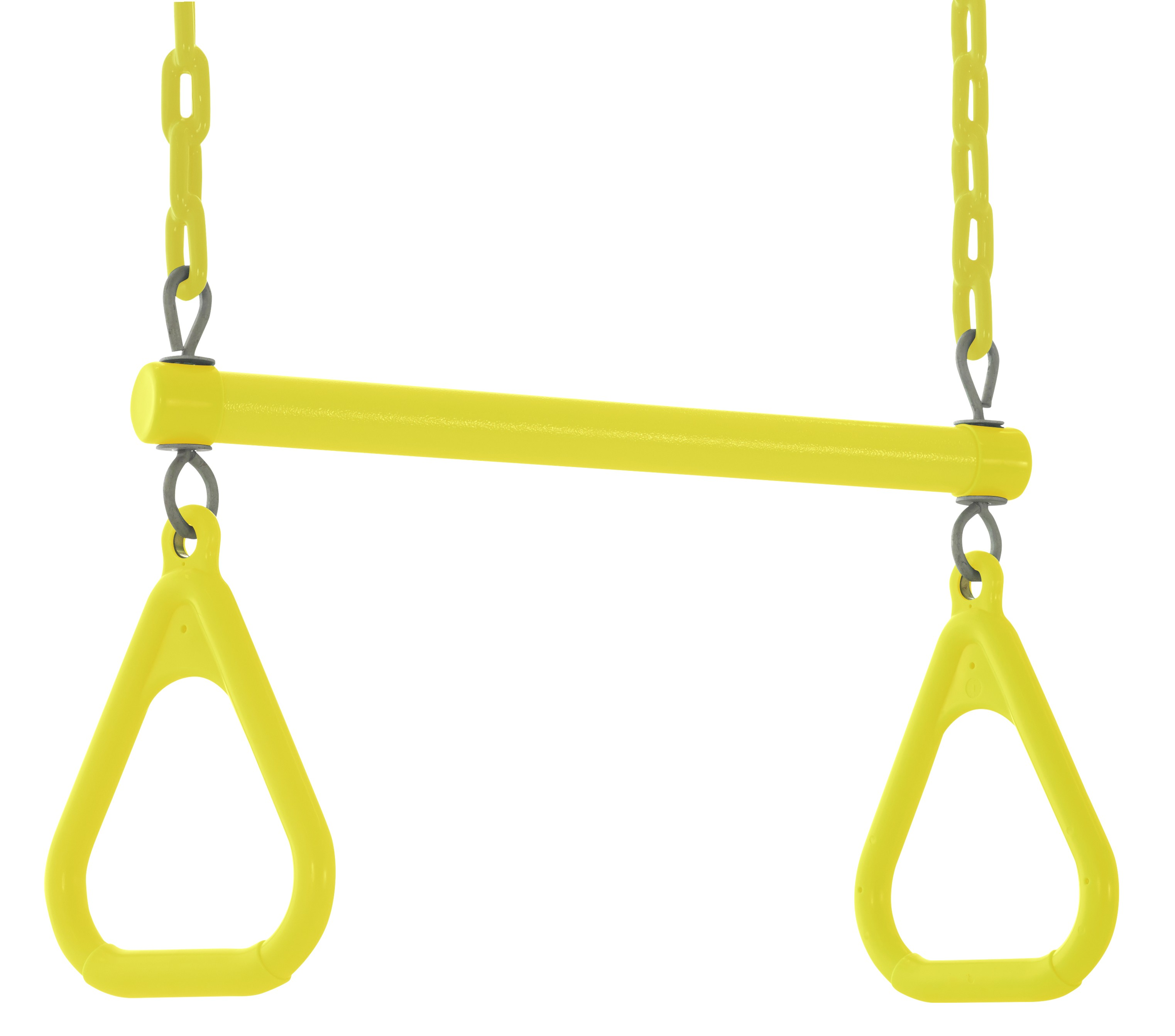 Swingan - Trapeze Swing Bar - Vinyl Coated Chain - Fully Assembled - Yellow