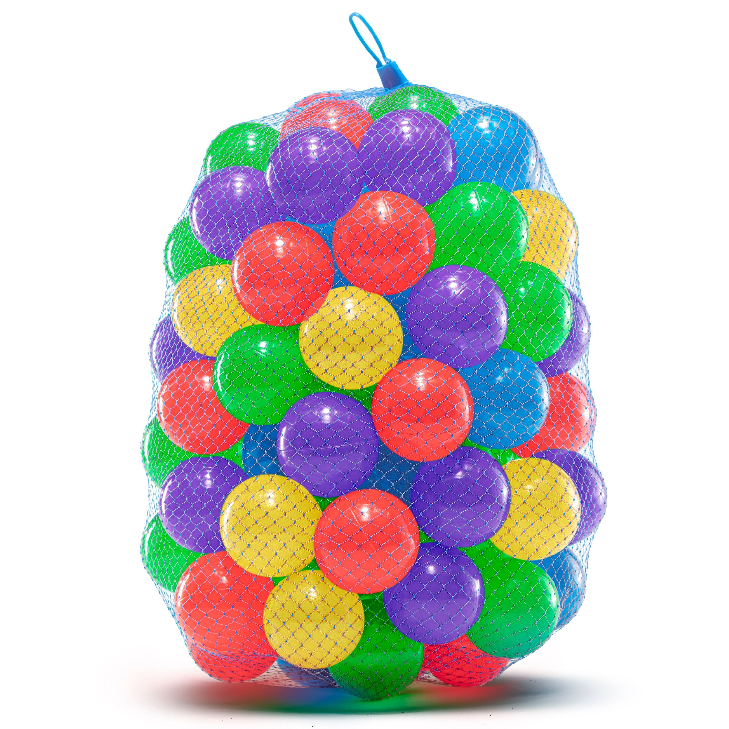 100 Soft Plastic Ball Pit Balls for Trampoline, Play Tent, Ball Pools, Indoor & Outdoor Play | Crush Proof, Non-Toxic
