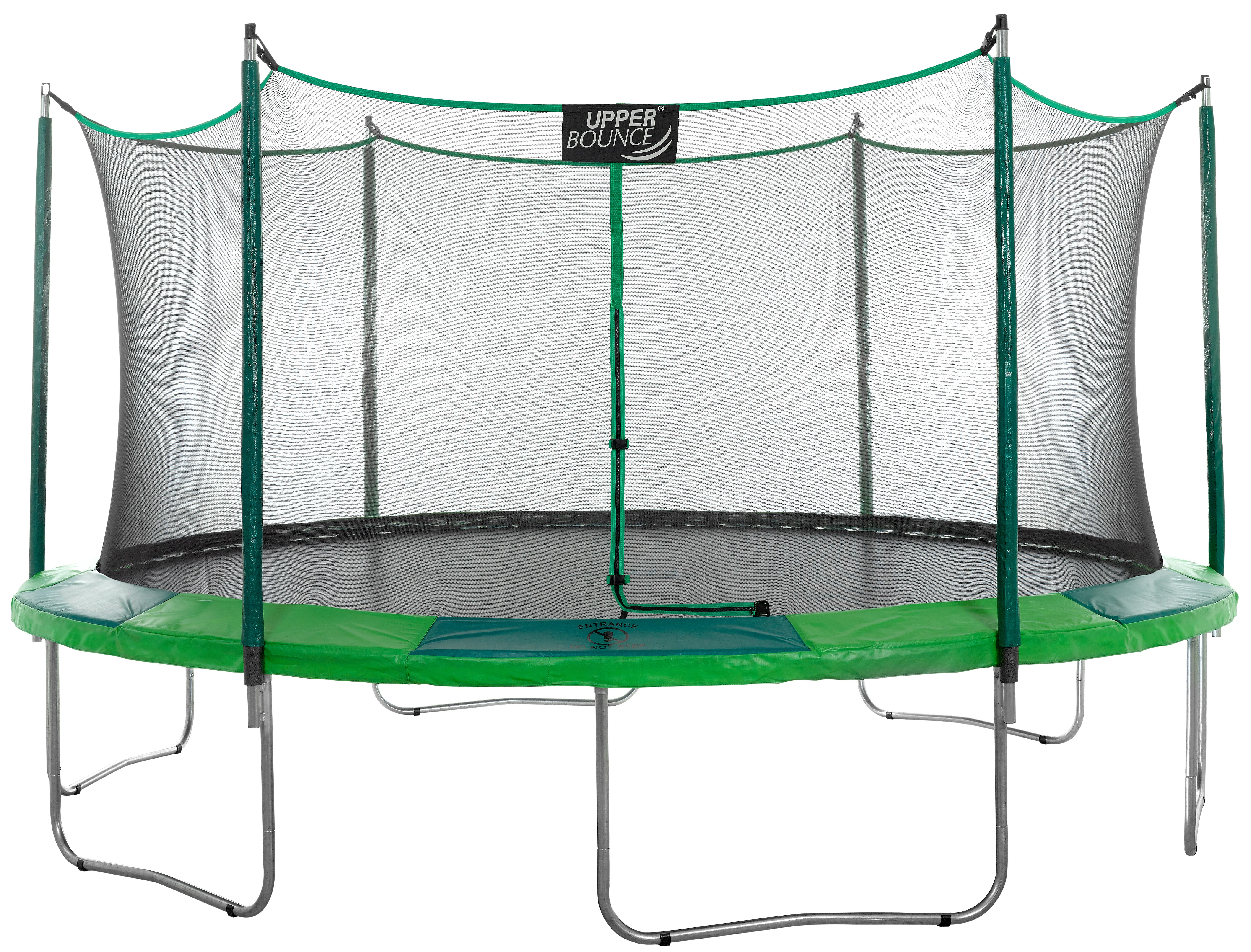 15Ft Large Trampoline and Enclosure Set | Garden & Outdoor Trampoline with Safety Net, Mat, Pad | Green