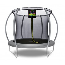 8Ft Large Pumpkin-Shaped Trampoline for Garden & Outdoor | Set with Top Ring Safety Enclosure | Grey