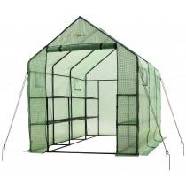 "Portable Large Walk In Garden Greenhouse - 2 Tier 12 Shelf PE Plastic Grow House - 117"" L x 67"" W x 83"" H"