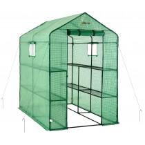"Ogrow Portable Walk In Greenhouse - 2 Tier 8 Shelf Large Polythene Garden Greenhouse - 75"" H x 49"" W x 74"" D"