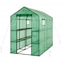 "Ogrow Portable Walk In Greenhouse - 2 Tier 12 Shelf Large Polythene Garden Greenhouse - 75"" H x 49"" W x 98"" D"