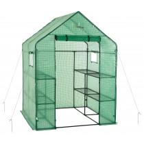 "Ogrow Portable Walk In Greenhouse - 2 Tier 8 Shelf Large Polythene Garden Greenhouse - 77"" H x 56"" W x 56"" D"