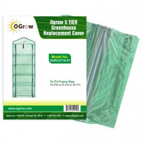 "5 Tier Mini Polyethylene Plastic Greenhouse Replacement Cover - 27"" W x 19"" D x 79"" H - Green"