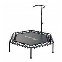 "Upper Bounce 50"" Hexagonal Fitness Rebounder Mini Trampoline - T-Shaped Adjustable Hand Rail - Bungee Cord Suspension"