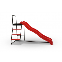 Trampoline Step N Slide - Kids Outdoor Trampoline Ladder and Wave-Style Slide Attachment - Red
