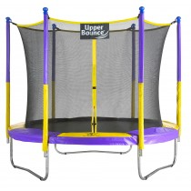 9Ft Large Trampoline and Enclosure Set | Garden & Outdoor Trampoline with Safety Net, Mat, Pad | Purple & Yellow