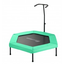 "Upper Bounce 50"" Hexagonal Fitness Rebounder Mini-Trampoline - T-Shaped Adjustable Hand Rail - Green"