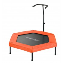 "Upper Bounce 50"" Hexagonal Fitness Rebounder Mini-Trampoline - T-Shaped Adjustable Hand Rail - Orange"