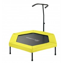 "Upper Bounce 50"" Hexagonal Fitness Rebounder Mini Trampoline - T-Shaped Adjustable Hand Rail - Yellow"
