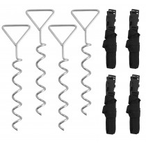 Trampoline Anchor Kit | Anchoring Tie Down Pegs / Stakes | Deep Fastening Spiral Ground Anchors | Set of 4