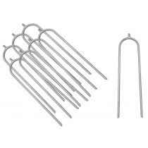 Trampoline Anchor Kit | Tie Down Pegs / Stakes | Metal U-Shaped Wind Guard Ground Anchors | Set of 8