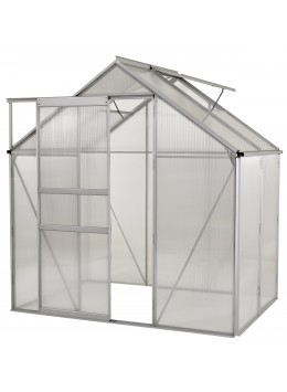 Ogrow 6x4 Ft. Walk In Greenhouse - Large Heavy Duty Aluminium Lawn & Garden Grow House - 24 Sq. Ft / 2.23 Mq - Clear