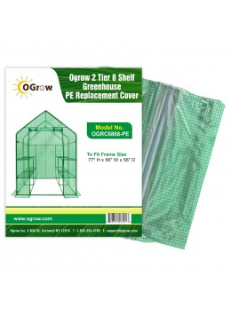 "2 Tier 8 Shelf Polyethylene Plastic Greenhouse Replacement Cover - 77"" W x 56"" D x 56"" H - Green"