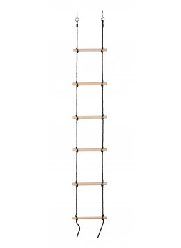 Swingan - 6 Steps Gymnastic Climbing Rope Ladder - Fully Assembled - Black Rope